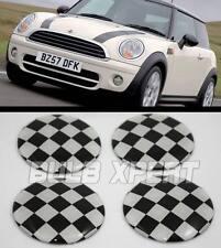 For Mini Cooper Black White Checkered Race Flag Wheel Rim Center Hub Cap Decals(Fits: Mini)
