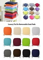 Luxury Removable Tie On Chair Seat Cushions Pads Garden Kitchen Thick 1/2/4/6