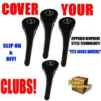 NEW DRIVER GOLF CLUB HEAD COVERS BLACK FULL COMPLETE 1 3 5 X WOOD HEADCOVER SET