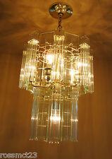 Vintage Lighting pair 1970s Mod glass rod chandeliers