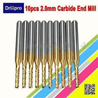 Drillpro 10Pcs 2mm 1/8'' Shank Engraving Bit Carbide End Mill CNC Cutter Tool