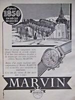PUBLICITÉ DE PRESSE 1951 MONTRES MARVIN - ADVERTISING