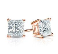 6MM Princess Cut Stud Diamond Earrings Excellent 14k Rose Gold CHRISTMAS GIFT !