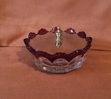 MARKED Heisey Elegant Glass Powder Bowl With Metal Lid And Rich Red Trim RARE