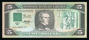 LIBERIA - 5 Dollars 1989 Banknote Note - P 19 P19 (AU)