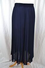 VINTAGE 1980s sheer navy blue pleated skirt midi length size 12