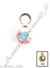 Piercing bijoux d'Ongle Strass SWAROVSKI Cristal AB Doré 3 mm Nail Art