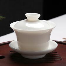 Chinese Ceremony Gaiwan Tea Tureen Ceramic White Jade Porcelain teacup Cup 120ml