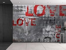 wall26- Red Love with Gray Background- Large Wall Mural, Home Decor - 66x96 inch