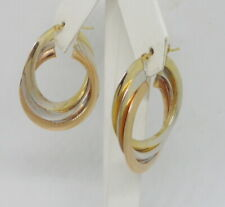"Italian 14K Gold Tri Gold White Yellow Rose Polished 1-1/4"" Triple Hoop Earrings"