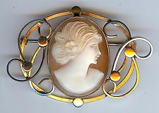 Precioso Oro Antiguo Relleno Tallado Camafeo Broche