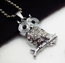 Unisex's Full Rhinestone Silver Stainless Steel Owl Pendant Necklace Charm Gift