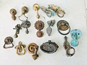 18 ANTIQUE BRASS DOOR ESCUTCHEONS HANDLES      05