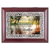 Retirement Wooded Pond Scene Ornate Music Box Plays Wonderful World