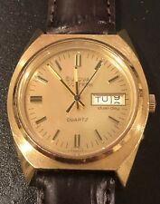 Vintage Bulova Accutron Watch N7, Day Date, Swiss Quartz, Gold Tone, SS,New Band