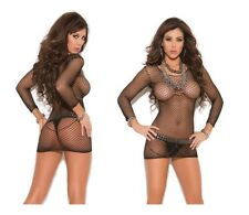 Elegant Moments Little Black Long Sleeve Fence Net Beach Mini Dress Chemise 8-14