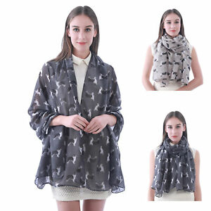 SCARF SHAWL WITH CUTE BORDER COLLIE DOG DESIGN FOR LADIES WOMEN