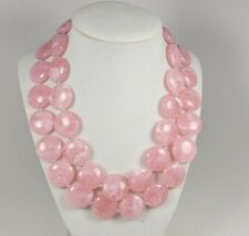 Chunky pink necklace, multi strand statement rose quartz necklace pink beaded  s