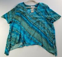 New Lady Dorby Women's Short Sleeve Blouse Top 22W Plus Multicolor Floral Rayon