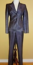 Max Mara 2pc Linen Pant Suit Dark Purple Jacket sz 4 & Pant sz 2 Made in Italy