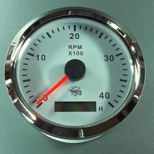 ELEKTRONISCHER  DREHZAHLMESSER  weiß - 4000UPM  85mm  mit  Stundenzähler  Chrom