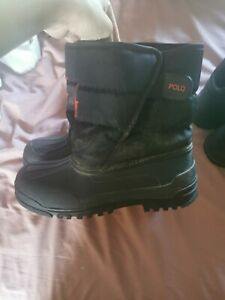 RALPH LAUREN POLO UNISEX BLACK red SNOW BOOTS used size 6 youth /adult