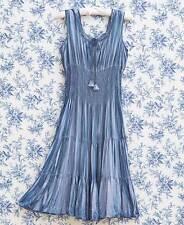 Women's Vintage Wash Smocked Waist Dress Sleeveless Stylish Indigo Large 14/16