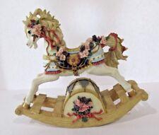 "Decorative Rocking Horse Music Box Pastels Plays ""Love Theme"" Photo Damaged Ear"