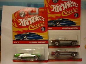 hot wheels  classics 65 mustang convertible series  #4 lot of 3 different colors