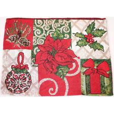 2pc Christmas Cotton Linen Table Doilies Placemat Home Decoration