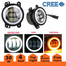 2X 4inch 30W Led Fog Light DRL White Halo Ring for Jeep Wrangler LJ JK TJ Dodge