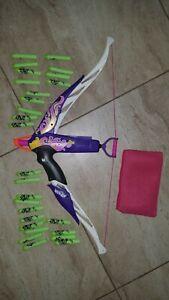 Nerf Rebelle Heartbreaker Bow Dart Blaster White w/ Purple & Pink Design + bonus