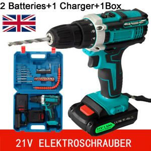 21V Cordless Drill Driver Electric Screwdriver Tool Kit w/2 Batteries 1 Charger