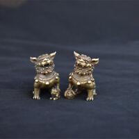 HOT Chinese antique brass pair of lion pendants copper  desktop accessories