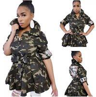 Women's Chic Camoflage Top Collar Sequins Jacket w Belt Size S 4/6