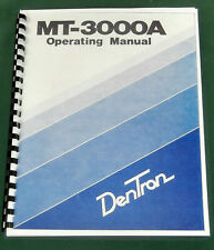 Dentron Mt-3000A Instruction Manual: Comb Bound & Protective Plastic covers!