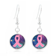 Pink Ribbon glass Frea Earrings Art Photo Tibet silver Earring Jewelry #436