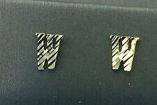 US Seller 10K Yellow Gold Initial Letter W Standard Push Back Earrings