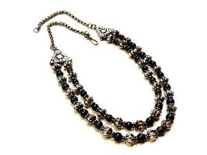 Bijou collier argent 925 perles double rangs en Lapis Lazuli idéal pour cadeau