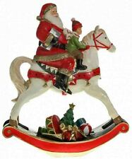 LARGE SANTA ON ROCKING HORSE ORNAMENT