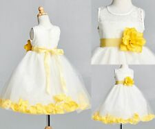 Ivory LACE Yellow Rose Petal Dress Flower Girl Easter Summer Spring Wedding #25