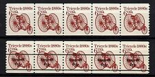 USA, SCOTT # 2126 & 2126A, SET OF 2 STRIPS OF 5 REGULAR & PRECANCELED - TRICYCLE