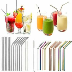 Reusable Metal Straws Stainless Steel Eco-Friendly 6 Colours and Cleaning Brush