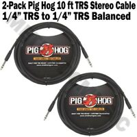 "2-PACK Pig Hog 10 FT Foot 1/4"" TRS Balanced Stereo to 1/4"" TRS Cable Plug 8mm"