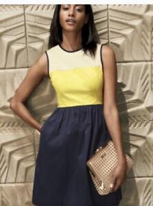 "Kate Spade New York Women's ""Jerry"" Dress Colorblock  Cotton A-Line Sz 4 Pockets"