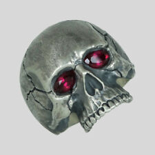 Ruby Skull Ring Sterling Silver Harley Biker Handmade Davidson Size by UNIQABLE