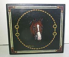 Handpainted Wood Jewelry Box  Racehorse Designated Driver Horse Mens Trinket Box