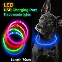 USB Charging Pet Dog Collar Rechargeable LED Tube Flashing Night Dog Collars FA