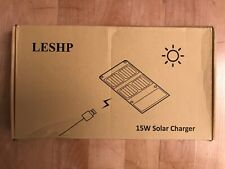 Portable Solar Charger, LESHP 15W 2-Port Camping Solar Panel with Dual USB Port