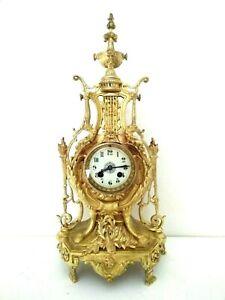 XL- große antike Bronze Kaminuhr Pendule Feuervergoldet Lyra Clock Uhr um 1860